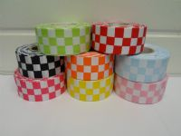Bright Orange 2 metres or 20 metre roll x 38mm Grosgrain ribbon square chequered block race track finish line